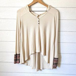 Z Supply Thermal Waffle Knit Hoodie Top M